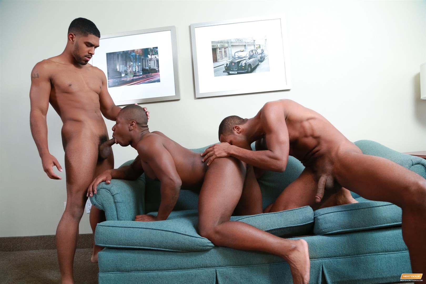 Next-Door-Ebony-Damian-Brooks-and-XL-and-Andre-Donovan-Black-Naked-Men-Fucking-Amateur-Gay-Porn-15 Three Naked Black Men, Three Big Black Cocks, One Juicy Booty