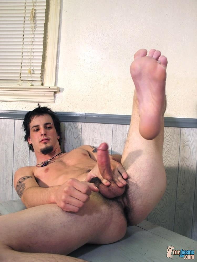 gay foot on cock