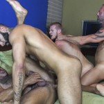 Raw Fuck Club Vic Rocco and Rikk York and Billy Warren and Job Galt Bareback Daddy Amateur Gay Porn 07 150x150 Four Hairy Muscle Daddies In A Bareback Fuck Fest Orgy