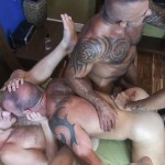 Raw Fuck Club Vic Rocco and Rikk York and Billy Warren and Job Galt Bareback Daddy Amateur Gay Porn 11 150x150 Four Hairy Muscle Daddies In A Bareback Fuck Fest Orgy