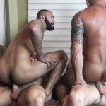 Raw Fuck Club Vic Rocco and Rikk York and Billy Warren and Job Galt Bareback Daddy Amateur Gay Porn 13 150x150 Four Hairy Muscle Daddies In A Bareback Fuck Fest Orgy