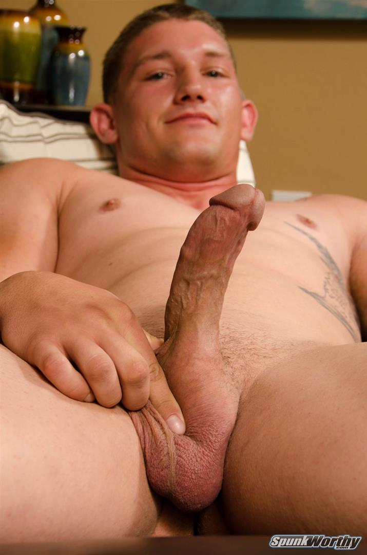 SpunkWorthy-Avery-Straight-Army-Soldier-Jerking-Off-Big-Cock-Amateur-Gay-Porn-15 Married Straight Muscular Army Soldier Jerking Off For Cash