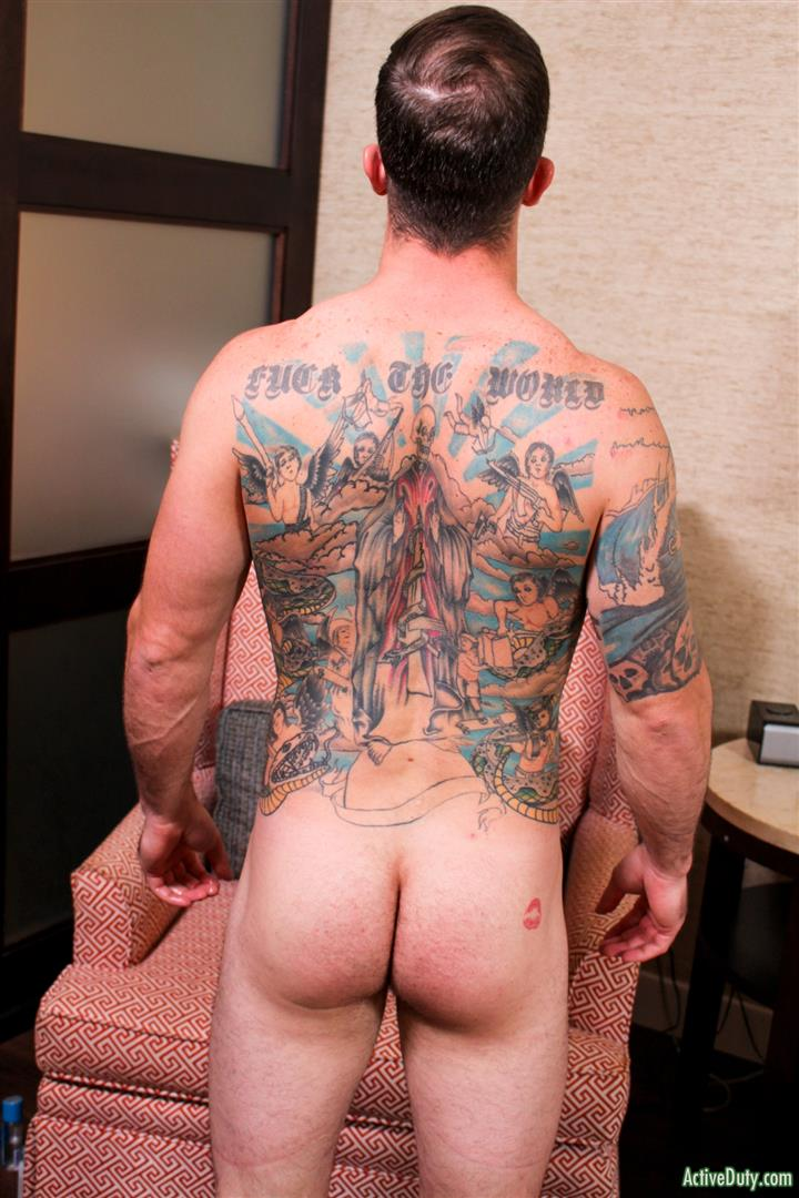 Active-Duty-Brad-Powers-Naked-Army-Soldier-With-A-Big-Cock-Amateur-Gay-Porn-11 Tatted Hung Army Soldier Brad Powers Shoots A Big Load Of Cum