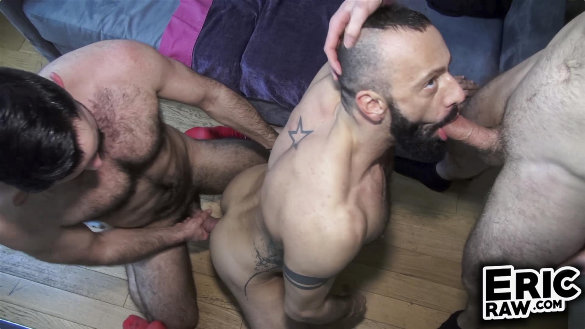 Eric-Raw-Bareback-Threesome-Hairy-Muscle-Hunks-Amateur-06 Bareback Fuck Date With Three Hairy Muscular Jocks