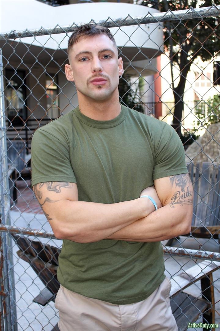 Active-Duty-Calvin-Naked-Muscular-Marine-Jerk-Off-01 Muscular Inked Up Marine Jerks His Big Dick Until He Cums