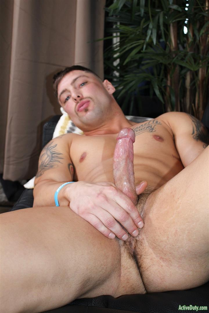 Active-Duty-Calvin-Naked-Muscular-Marine-Jerk-Off-09 Muscular Inked Up Marine Jerks His Big Dick Until He Cums